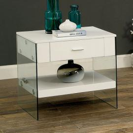Raya by Furniture of America CM4451WH-E End Table