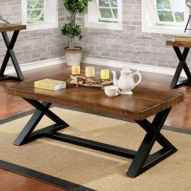 Nikki by Furniture of America Oak & Black CM4612C Coffee Table