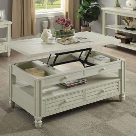 Suzette by Furniture of America Antique White CM4615WH-C Coffee Table