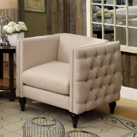Emer Beige Linen-Fabric Chair CM6780BG-CH by Furniture of America