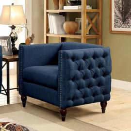 Emer Dark Blue Linen-Fabric Chair CM6780BL-CH by Furniture of America