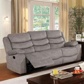 Castleford Light Gray Fabric Reclining Sofa CM6940-SF by Furniture of America