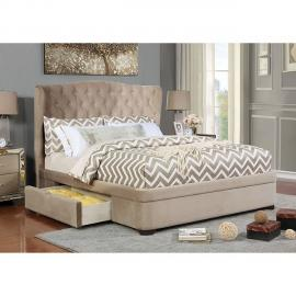 Aoifa Taupe Fabric California King Bed CM7544CK by Furniture of America