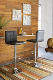 Ashley  D120-130 Bellatier Swivel Barstool Set of 2 Black/Chrome Finish