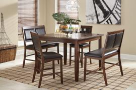 Ashley - Meredy (D395-323) Brown 5pc. Counter Height Dining Table Set