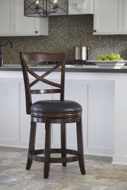 "Ashley - Porter D697-424 Rustic Brown Swivel 24"" Barstool (Set of 2)"