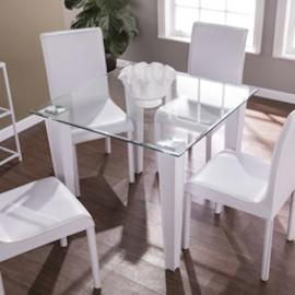 DN0640 Perry By Southern Enterprises Square Small Space Dining Table - Glass w/ White Faux