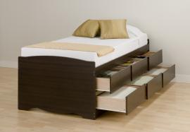 Espresso Tall Twin / Mates Platform Storage Bed (6-drawers) EBT4106