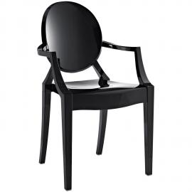 Casper EEI-121BLK Black Stackable Dining Arm Chair