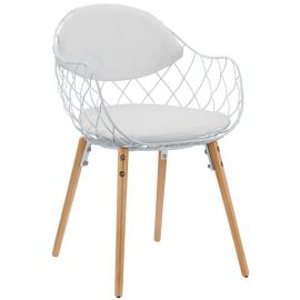 Clive EEI-1465 White Metal Basket Dining Arm Chair