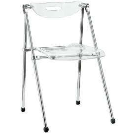 Telescope EEI-148-CLR Clear Polycarbonate Foldable Dining Side Chair
