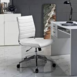 Jive EEI-1525 White Armless Mid-Back Office Chair