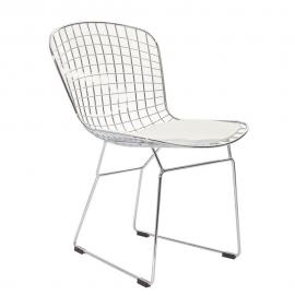 CAD EEI-161-WHI Metal Dining  Side Chair with White Seat