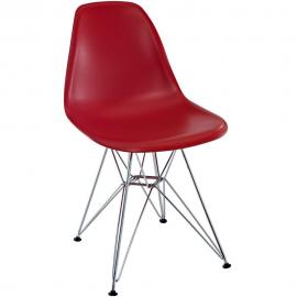 Paris EEI-179-RED Red Indoor/Outdoor Dining Side Chair with Chrome Legs