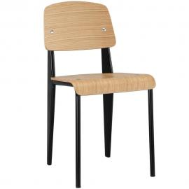 Clawson EEI-214 Natural Wood and Black Dining Side Chair