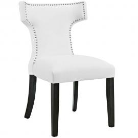 Curve EEI-2220-WHI White Vinyl Curved Back Dining Side Chair