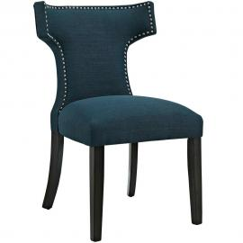 Curve EEI-2221-AZU Azure Fabric Curved Back Dining Side Chair