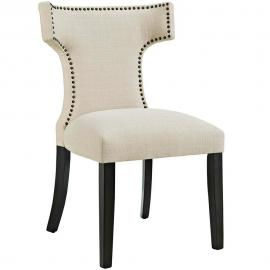 Curve EEI-2221-BEI Beige Fabric Curved Back Dining Side Chair
