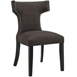 Curve EEI-2221-BRN Brown Fabric Curved Back Dining Side Chair