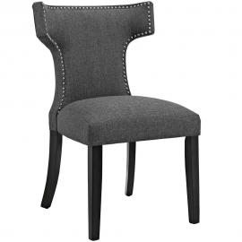 Curve EEI-2221-GRY Grey Fabric Curved Back Dining Side Chair
