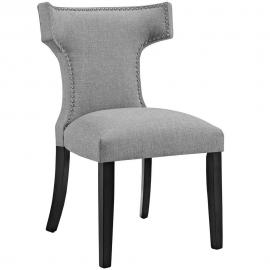 Curve EEI-2221-LGR Light Grey Fabric Curved Back Dining Side Chair
