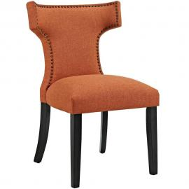 Curve EEI-2221-ORA Orange Fabric Curved Back Dining Side Chair