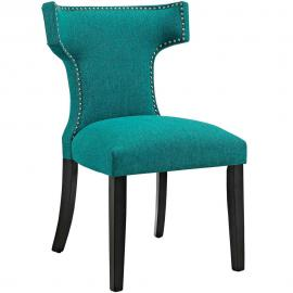 Curve EEI-2221-TEA Teal Fabric Curved Back Dining Side Chair