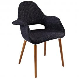 Aegis EEI-555 Black Mid Century Modern Twill Dining Arm Chair