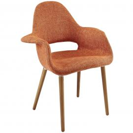 Aegis EEI-555 Orange Mid Century Modern Twill Dining Arm Chair