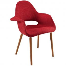 Aegis EEI-555 Red Mid Century Modern Twill Dining Arm Chair