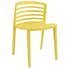 Curvy EEI-557-YLW Yellow Slat Back Dining Side Chair