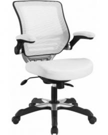 Edge EEI-595 White Vinyl Office Chair with Black Trim