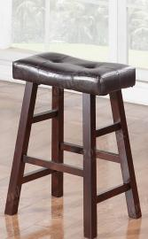 Poundex F1239 Bar Stool Set of 2 Rubber Wood Brown Faux Leather