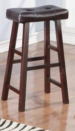 Poundex F1240 Bar Stool Set of 2 Rubber Wood  Brown Faux Leather
