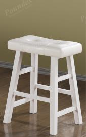 Poundex F1241 Bar Stool Set of 2 Rubber Wood  White Faux Leather