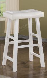 Poundex F1242 Bar Stool Set of 2 Rubber Wood White Faux Leather
