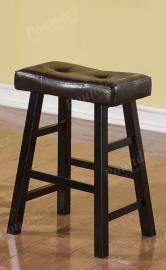 Poundex F1261 Bar Stool Set of 2 Rubber Wood Black Faux Leather