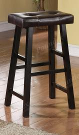 Poundex F1262 Bar Stool Set of 2 Rubber Wood Black Faux Leather