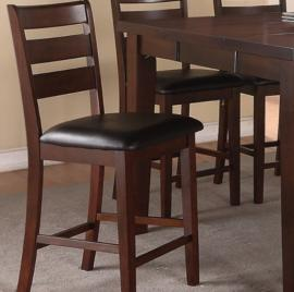 Poundex F1297 Antique Walnut High Chair Set of 2