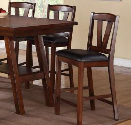 Poundex F1333 Dark Walnut Counter Height Chair Set of 2