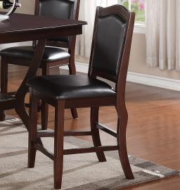 Poundex F1346 Faux Leather Counter Height Chair Set of 2