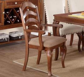 Poundex F1398 Traditional Oak Finish Dining Arm Chair Set of 2
