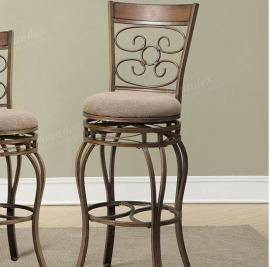 Poundex F1400 Floral Pattern Bar Height Chair Set of 2
