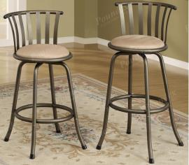 Poundex F1431 Swivel Bar Stool Set of 2 Metal With Microfiber Cushion
