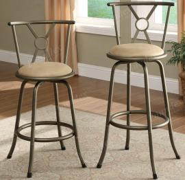 Poundex F1432 Swivel Bar Stool Set of 2 Metal With Microfiber Cushion