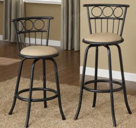 Poundex F1433 Swivel Bar Stool Set of 2 Metal With Microfiber Cushion
