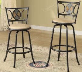 Poundex F1434 Swivel Bar Stool Set of 2 Metal With Microfiber Cushion