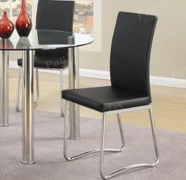 Poundex F1439 Contemporary Black Finish Dining Chair Set of 2