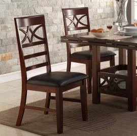 Poundex F1444 Dark Brown Dining Chair Set of 2