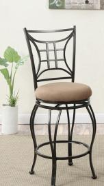 Poundex F1449 Swivel Bar Stool Set of 2 Metal / Faux Suede Fabric Cushion